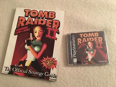 PlayStation PS1 Video Game Tomb Raider II & Strategy Guide