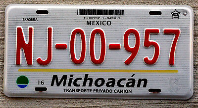 2003 Michoacan Mexico Lined Background with Blue/Green State Logo License Plate