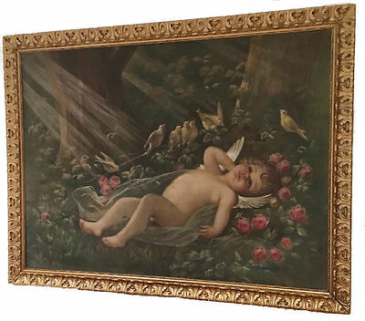 19th c Antique French Angel Cherub Putti Oil Painting LEON JEAN BASILE PERRAULT