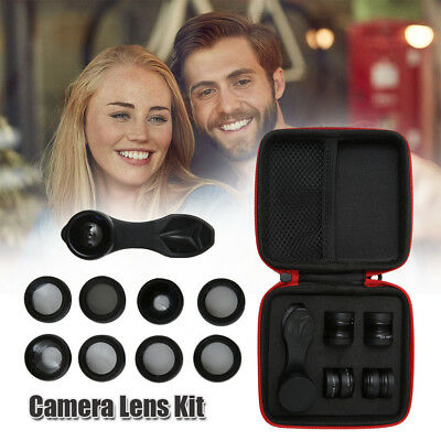 10 in 1 Clip Fisheye+Wide Angle+Macro Camera Lens Travel Kit For Mobile Phone AU