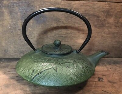Vintage Cast Iron Japanese Tea Pot Kettle Green Bamboo Design with Wire Basket