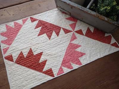 Civil War 1860 Antique Turkey Red Doll or Table QUILT RUNNER 21x14
