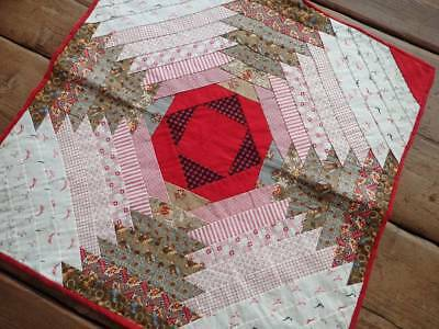 Quite Incredible 3-d look! Antique c1870 Log Cabin Table or Doll QUILT 17""