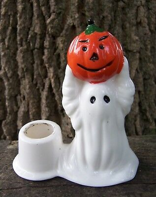Vintage HALLOWEEN Taper Candle Holder GHOST holding PUMPKIN over head MIDWEST