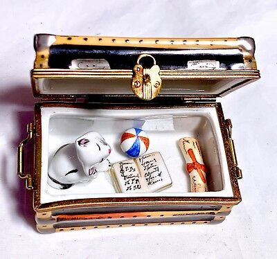 Limoges France French Cat Ball Toy Book Trunk Trinket Box Peint Main Limoge