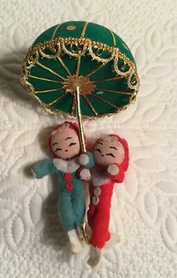 VINTAGE Bendable Felt PIXIE ELF Duo Elves W/ Umbrella Christmas Ornament Japan