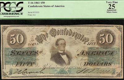 1861 $50 Dollar Jefferson Davis Confederate States Currency Note Money T-16 Pcgs