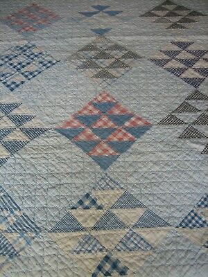 "Antique Flying Geese Quilt - Sweet Cutter Quilt - Maybe Repair - 64""x77"""