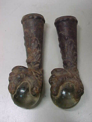 Old Vintage Pair Of Lions Head Ball & Claw Feet - Super Nice!