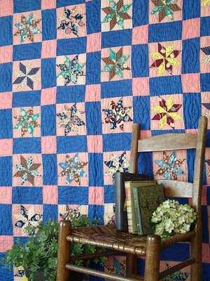 "So Pretty in BLUE Vintage LeMoyne Stars QUILT 82"" x 73"""