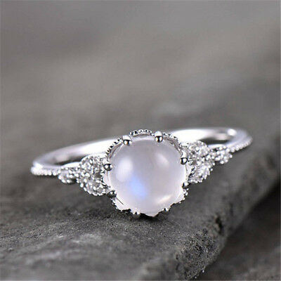 Beautiful Moonstone 925 Silver Jewelry Wedding Engagement Party Ring Size 6-10