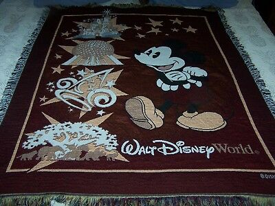 Walt Disney World Tapestry Throw Blanket Fringe 47x56 Mickey Epcot Magic Kingdom
