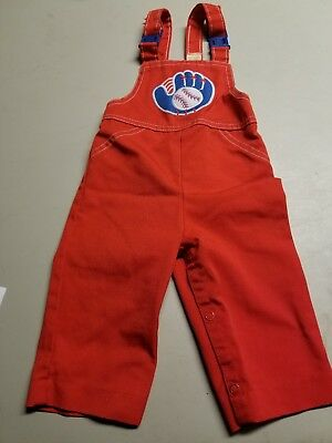 Vintage Carters Red Baseball Little Boys Overalls Size 12 Months