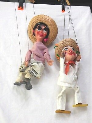 Nice Pair Of Vintage Old String Puppets Or Marionettes From Mexico - Man & Woman