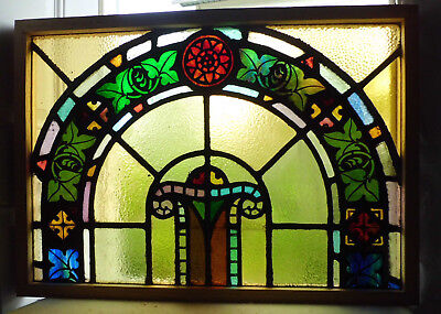 Antique Vtg Church Stained Glass Window Architectural Salvage Colorful Arch W11
