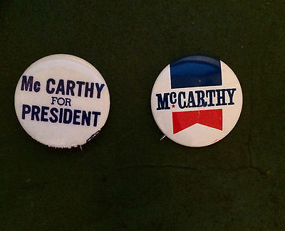 2 Vintage EUGENE MCCARTHY 1968 Presidential Primary Campaign pinback buttons