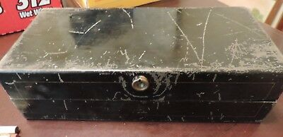 Rare Early Tin Metal Cash Deed Lock Box w/ Stamp Box Coatsworth Lumber Mexico MO
