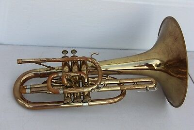 Vincent Bach Mercedes Marching Melophone French Horn in F. Missing one valve.