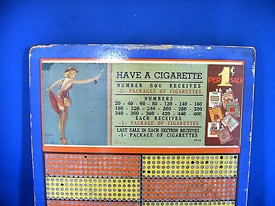 Vintage 1 Cent Cigarette Counter Punch Board Trade Stimulator Pin Up Fishing