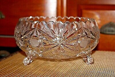 Antique Brilliant Cut Glass Footed Bowl Saw Tooth Top Star Patterns Clear Glass