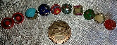 Lot of 10 Antique Victorian Glass  Buttons various colors and designs