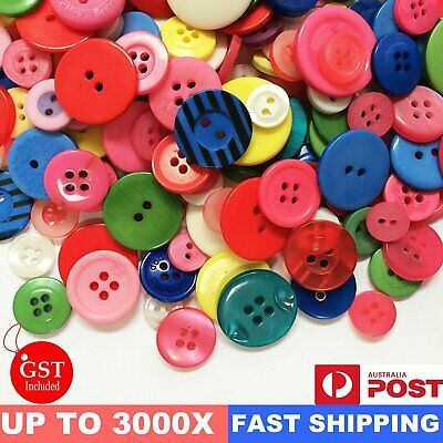Up to 1200 Pcs Mixed Colour Bulk Buttons Round Sewing Craft Scrapbooking 7-20 mm