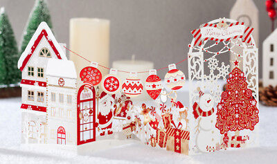 Unique Christmas Cards.Unique Christmas Card Laser Cut 3d Pop Up Card Gold Red Ornaments City View New