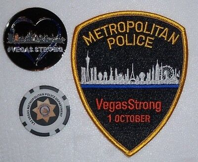 Las Vegas Metropolitan Police Vegas Strong Patch Challenge Coin Poker Chip Set