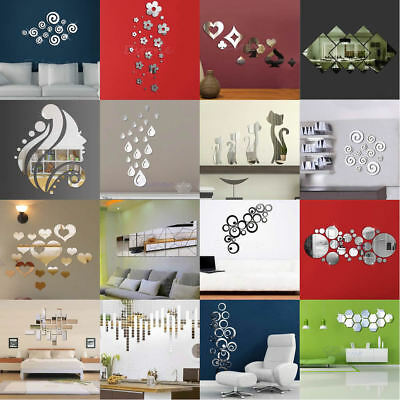 Hot 3D Effect Wall Mirror Stickers Home Living Room Decal Art Decor Removable