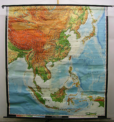 Schulwandkarte Wall Map Map South-East Asia China Japan Vietnam 197x215 1968