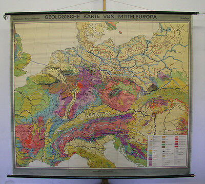 Beautiful Schulwandkarte Geology Geological Map of Central Europe 201x179 1956
