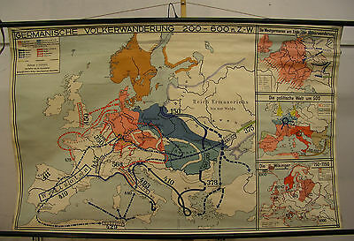 Schulwandkarte Wall Map School Map Germanic Vandals Viking 185x117