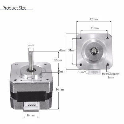 Metal Nema 17 Bipolar Stepper Motor 28N.cm 0.4A 12V 1.8° For CNC/3D Printer