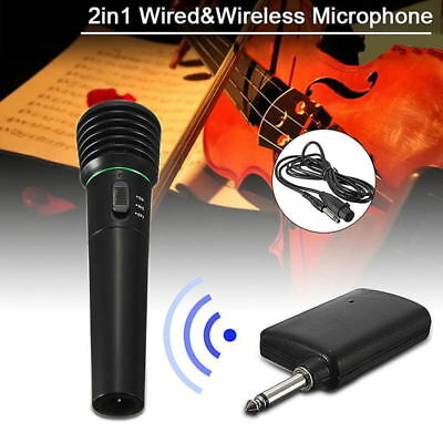 2 in 1 Wired and Wireless Handheld Microphone Mic with Receiver Black