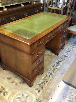 Antique Style Desk Green Leather Top