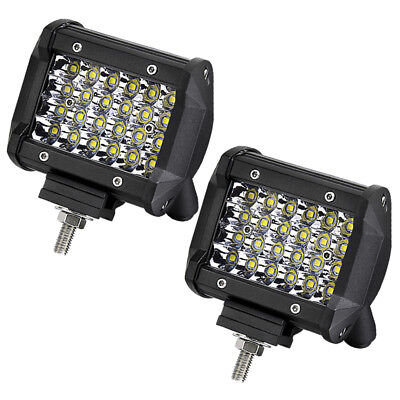 2x 4in 240W Work Lights LED Pods Spot Flood Driving Fog Lamp Offroad 4WD ATV UTE