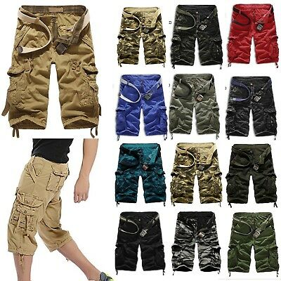 Mens Military Army Combat Camo Work Hiking Cargo Shorts Pants Trousers Bottoms