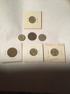 Lot Of 7 US Occupied Phillipines Coins