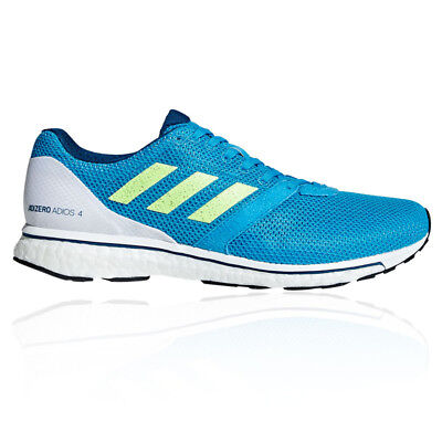 official photos 6435b 45fb1 Adidas Hommes Adizero Adios 4 Chaussures De Course À Pied Baskets Bleu Blanc