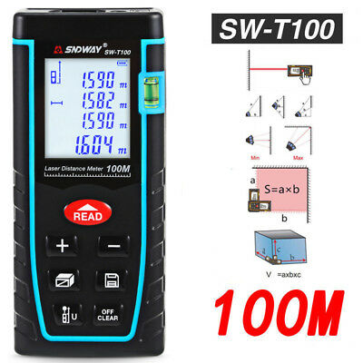 SNDWAY 100M/328FT Digital Laser Distance Meter Range Finder Measure Diastimeter