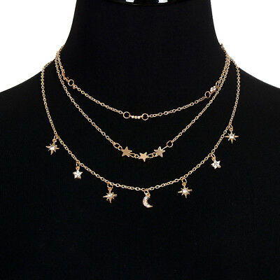 8b0925726ad0a DAINTY 4 STAR Choker Necklace Rhinestone Cluster 925 Sterling Silver ...