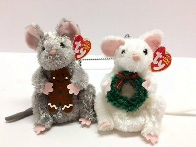 """Set 2 Ty Beanie Babies STIRRING GARLANDS Holiday 2007 Christmas Mice 6"""" NWT"""