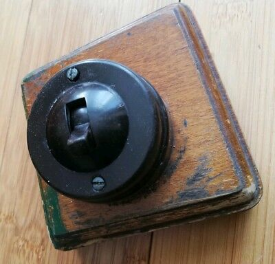 Vintage Bakelite Light Switch Antique Art Deco Old Toggle Dolly with back mount