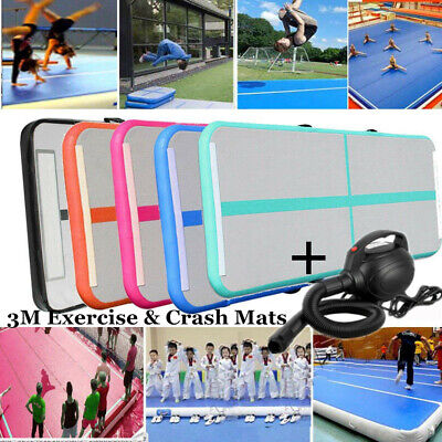 Air Mat Track Gymnastics Inflatable Floor Home Training Camping 3x1M With Pump