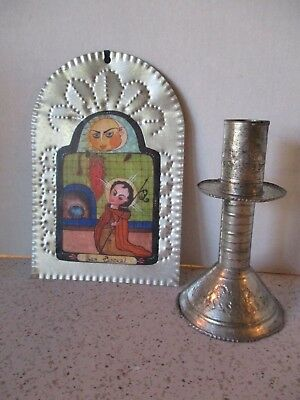 """Vintage Mexican Retablo, """"san Pascual"""", & Candleholder, Handcrafted Hammered Tin"""