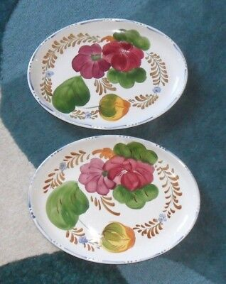 """2 Belle Fiore Chanticleer Ware Oval Dinner Plates Small Serving Platter 10 3/4"""""""