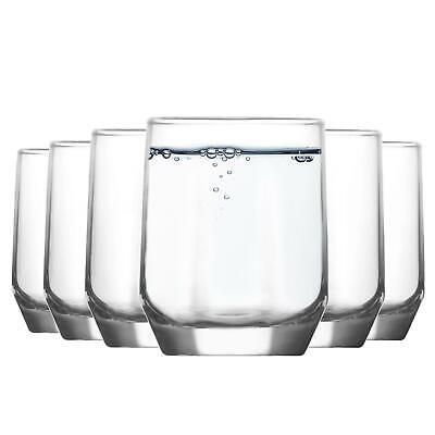 6x Diamond Glass Water Tumblers - 215ml