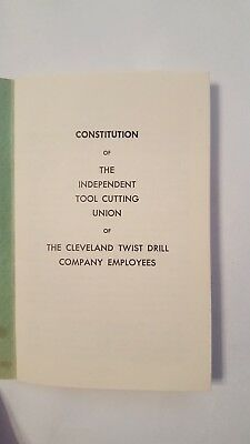 Vintage Old Book Constitution of Cleveland Drill Twist  Standrad Tool Co.