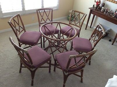 McGuire SanFrancisco Rattan Dining Set 6 Chairs W/Base