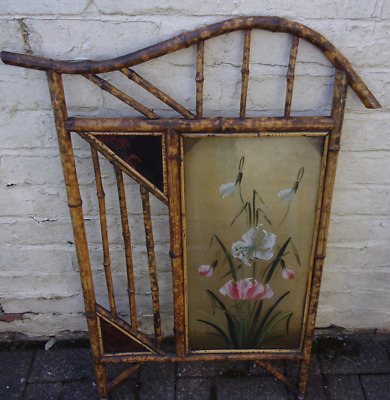 Vintage Bamboo Wood Firescreen ~Old Antique Painted Victorian late 1800's Screen